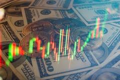 Bakgrund för pengar och för dollar Bitcoin för guld- mynt ny faktisk Cryptocurrency Affärs- och handelbegrepp Arkivbild