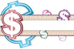 Bakgrund för pengardollaretikett för meddelande Royaltyfri Bild