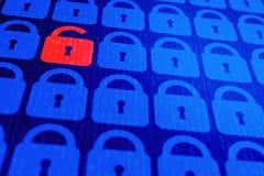 Bakgrund för personligt begrepp för säkerhet för Digital internetdata blå Säker serfing www cyberspace royaltyfri foto