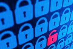Bakgrund för personligt begrepp för säkerhet för Digital internetdata blå Säker serfing www cyberspace arkivfoton