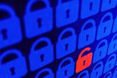 Bakgrund för personligt begrepp för säkerhet för Digital internetdata blå Säker serfing www cyberspace royaltyfri bild