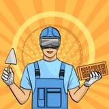 Bakgrund för popkonst En man är en byggmästare som ska läras i exponeringsglasen Utbildning på internet Sakta arbete som frilansa stock illustrationer
