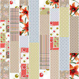 Bakgrund för prydnad för modell för patchworkdesign sömlös blom- Royaltyfri Foto