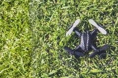 Bakgrund för Quadcopter rastergräs inget royaltyfri foto