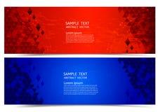 Bakgrund för röd och blå färg för baner geometrisk abstrakt, vektorillustration för din affär stock illustrationer