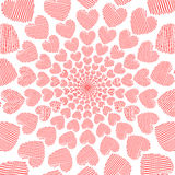 Bakgrund för rörelse för spiral för hjärta för designklotter röd Arkivbild