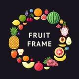 Bakgrund för ram för fruktvektorcirkel Modern plan design sund bakgrundsmat Royaltyfria Foton