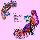 Bakgrund för ram för gulligt klotter för vektor färgrik blom- Royaltyfria Foton