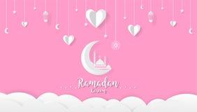 Bakgrund för Ramadankareemtecknad film, festivaldesignbegrepp stock illustrationer