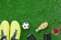 Bakgrund för säsong för fotboll eller för fotboll för bild för bästa sikt för tabell flyg- Arkivfoto