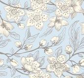 Bakgrund för sömlös vår för tappning blom- royaltyfri illustrationer
