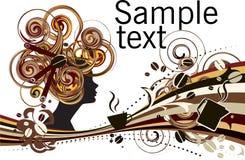 Bakgrund för sammansättning för kanelbrun flicka för kaffebönor abstrakt stock illustrationer