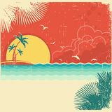 Bakgrund för seascape för tappningnatur tropisk vektor illustrationer