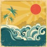 Bakgrund för seascape för tappningnatur tropisk med p stock illustrationer