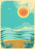 Bakgrund för seascape för tappningnatur tropisk med s stock illustrationer