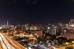 Bakgrund för sikt för Taipei stadsnatt Royaltyfria Foton