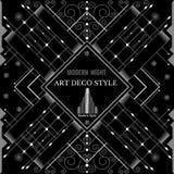 Bakgrund för silver för geometrisk modell för art déco modern Arkivfoton