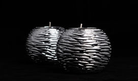 Bakgrund för silverljusstakesvart Arkivbild