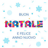 Bakgrund för snöflinga för vektor för Buon Natale Merry Christmas Italian hälsningkort pappers- snida Royaltyfri Foto