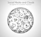 Bakgrund för socialt massmedia- och molnbegrepp vektor illustrationer