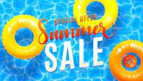 Bakgrund för sommarförsäljningsbanret med textur för blått vatten och den gula pölen svävar Vektorillustration av havsstranderbju stock illustrationer