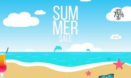 Bakgrund för sommarförsäljningsvektor med en strand, havsvågor, tropiska sidor, frukter, text annonsering av banret stock illustrationer