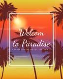 Bakgrund för sommarferier Exotiskt landskap med palmträd vektor Arkivfoto