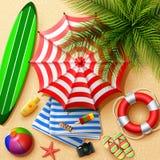 Bakgrund för sommarferier i strandsanden Bästa sikt av strandbeståndsdelsamlingar stock illustrationer
