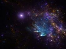 Bakgrund för spcae för natthimmel med nebulosan och galaxer Fotografering för Bildbyråer