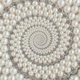 Bakgrund för spiralen för pärla- och diamantjuvelabstrakt begrepp mönstrar fractal Pryder med pärlor bakgrund, upprepande modell  Royaltyfria Bilder