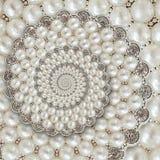Bakgrund för spiralen för pärla- och diamantjuvelabstrakt begrepp mönstrar fractal Pryder med pärlor bakgrund, upprepande modell  Fotografering för Bildbyråer
