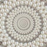 Bakgrund för spiralen för pärla- och diamantjuvelabstrakt begrepp mönstrar fractal Pryder med pärlor bakgrund, upprepande modell  Royaltyfri Foto