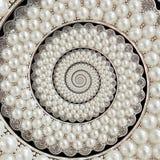 Bakgrund för spiralen för pärla- och diamantjuvelabstrakt begrepp mönstrar fractal Pryder med pärlor bakgrund, upprepande modell  Arkivbilder