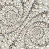 Bakgrund för spiralen för pärla- och diamantjuvelabstrakt begrepp mönstrar fractal Pryder med pärlor bakgrund, upprepande modell  royaltyfri bild