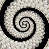 Bakgrund för spiralen för pärla- och diamantjuvelabstrakt begrepp mönstrar fractal Pryder med pärlor bakgrund, upprepande modell  Arkivfoto