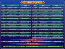 Bakgrund för sportar för diagram för schema för match för syrsakopp 2019 stock illustrationer