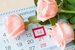 Bakgrund för St-valentindag - rosor av den ljusa persikan färgar över kalendern Arkivbild