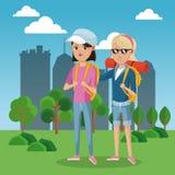 Bakgrund för stad för fält för gräsplan för lock för ryggsäck för två flickafrinds turist- vektor illustrationer