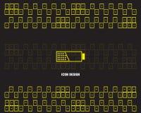 Bakgrund för stil för gula för stilbakgrund för färger nya för Battrey vektor för symbol för uppladdning för makt färger för vers stock illustrationer