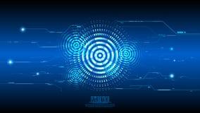 Bakgrund för strömkrets för cyber för vektorabstrakt begreppblått Royaltyfri Bild