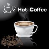 Bakgrund för svart för kaffe för illustration för vektor för kaffekopp varm Royaltyfri Illustrationer