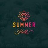 Bakgrund för svart för ob för logotyp för tappning för Hello sommarvektor retro med trycket för hipster för havs- eller havvågor  Arkivfoto