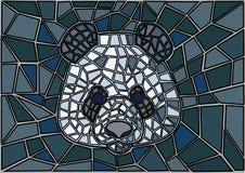 Bakgrund för svart för Panda Stained exponeringsglasmosaik grå royaltyfri illustrationer