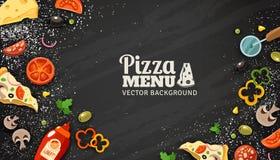 Bakgrund för svart tavla för pizzameny vektor illustrationer