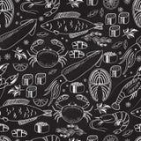Bakgrund för svart tavla för skaldjur och för fisk sömlös Arkivbild