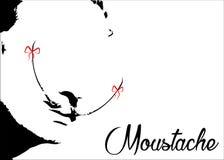 Bakgrund för symbol för MUSTASCH för ` för vektor retro isolerad eller vit, stock illustrationer