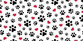 Bakgrund för tapet för valentin för halsduk för vektor för hundPaw Seamless modell hjärta isolerad vektor illustrationer