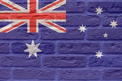 Bakgrund för tappningAustralien flagga på tegelstenar Royaltyfri Foto