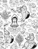 Bakgrund för tecknad film för liten röd ridninghuv i översikt Royaltyfri Foto