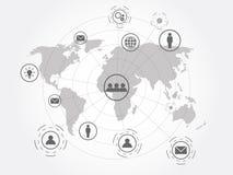 Bakgrund för teknologi för anslutning för globalt nätverk Royaltyfri Fotografi